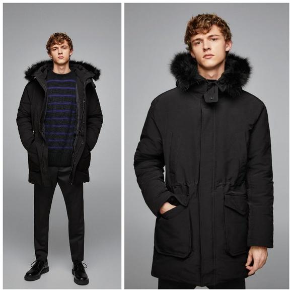 a1a49a2c Zara Jackets & Coats | Nwt Man Padded Parka With Faux Fur Hood ...